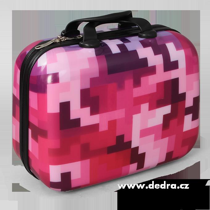 Kufr příruční menší pink tetris 32 x 14 x 24 cm