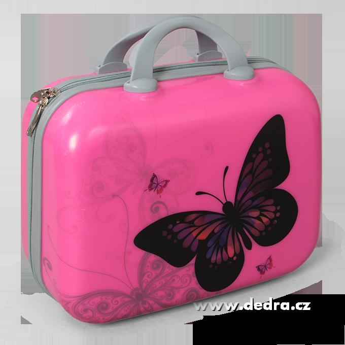 Kufr příruční menší pink butterfly 32 x 14 x 24 cm