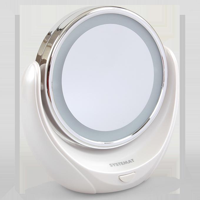 2v1 zvětšovací kosmetické dvoj-zrcadlo s LED osvětlením, SYSTEMAT