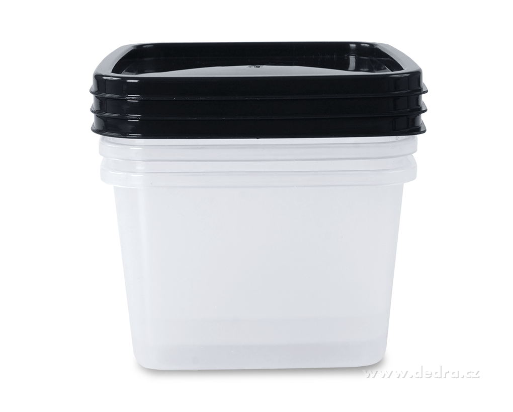 3 ks box černý z odolného plastu, 570 ml