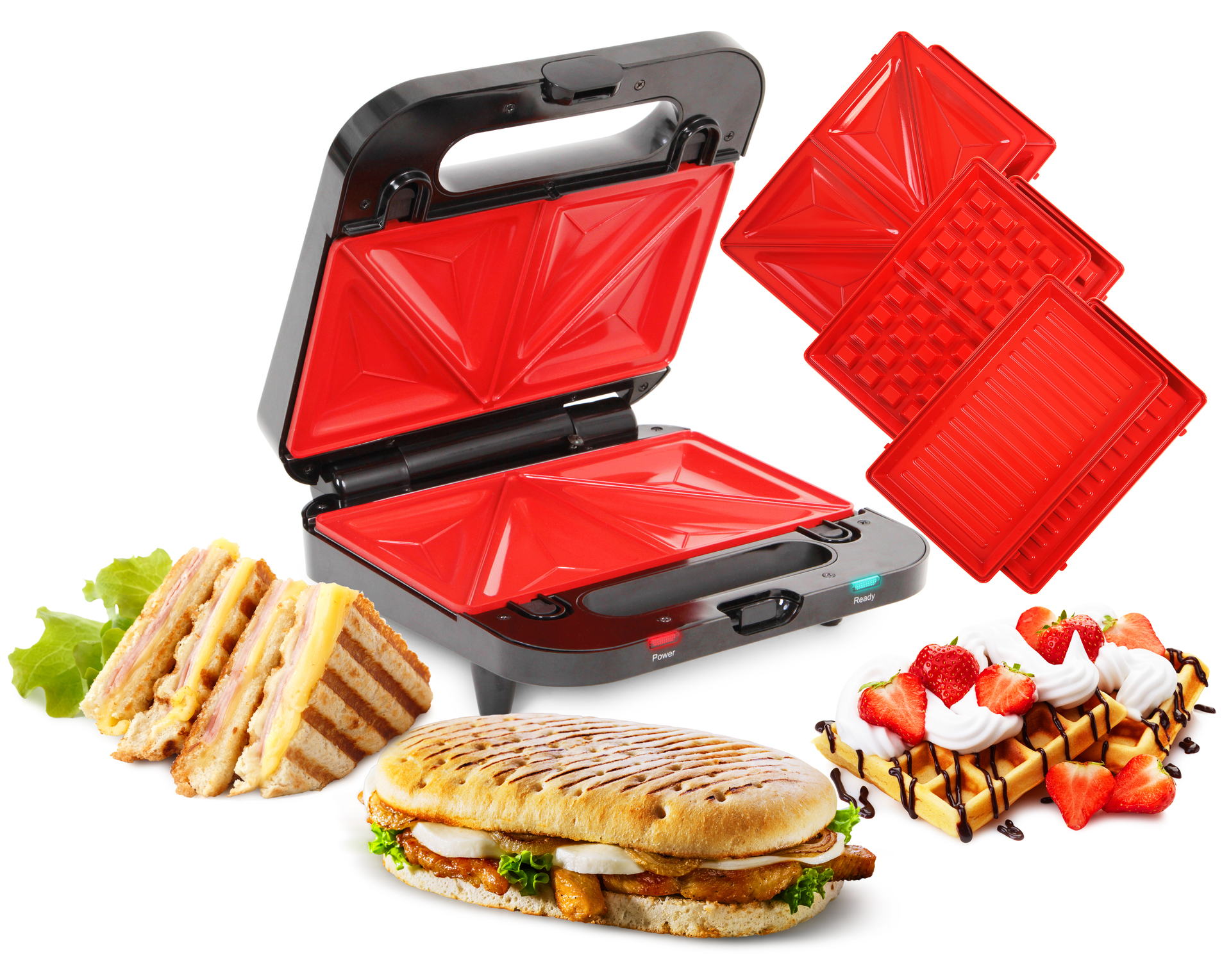 4v1 sendvičovač, vaflovač, gril, panini GRIFLOVAČ, SYSTEMAT