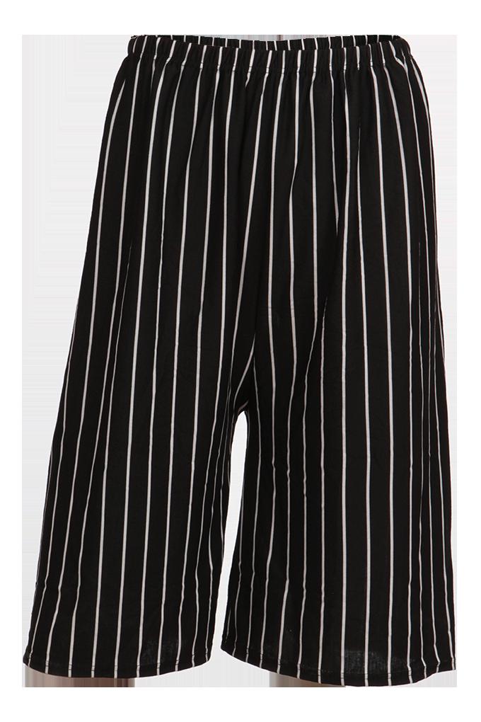 FC91611-Spacie bermudy SIMEON čierne pruhované