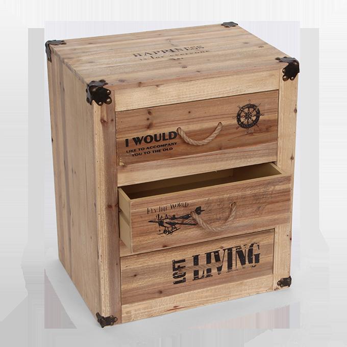 Komoda/skříňka, dřevěná HAPPINESS