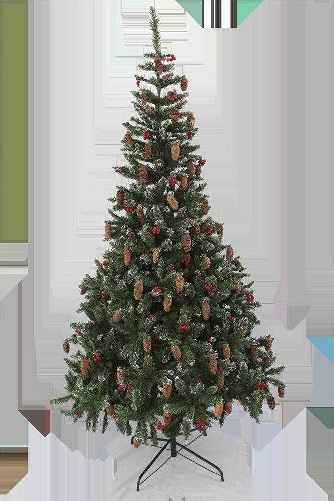 210 cm Zelený smrk s přízdobou šišek, červených bobulí a sněhu