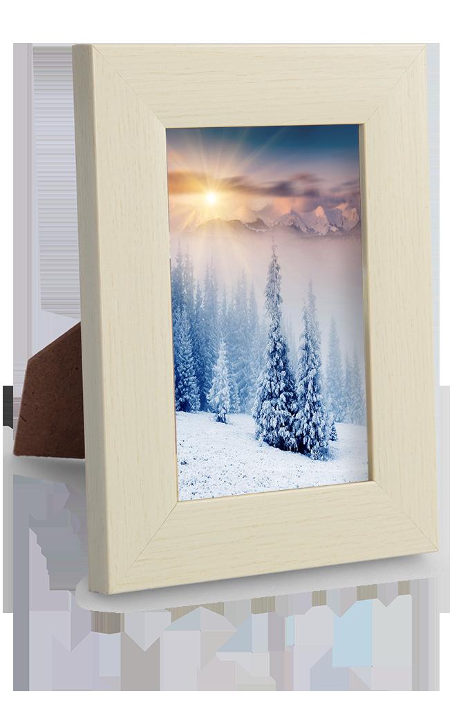Dřevěný fotorámeček krémový na foto 9 x 13 cm