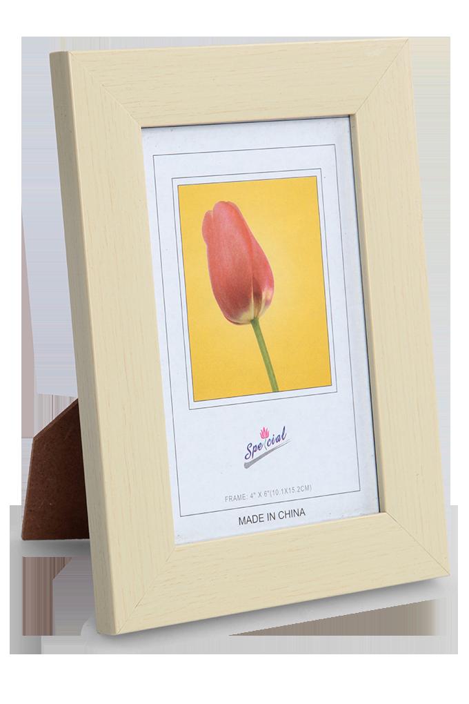 Dřevěný fotorámeček krémový na foto 10 x 15 cm