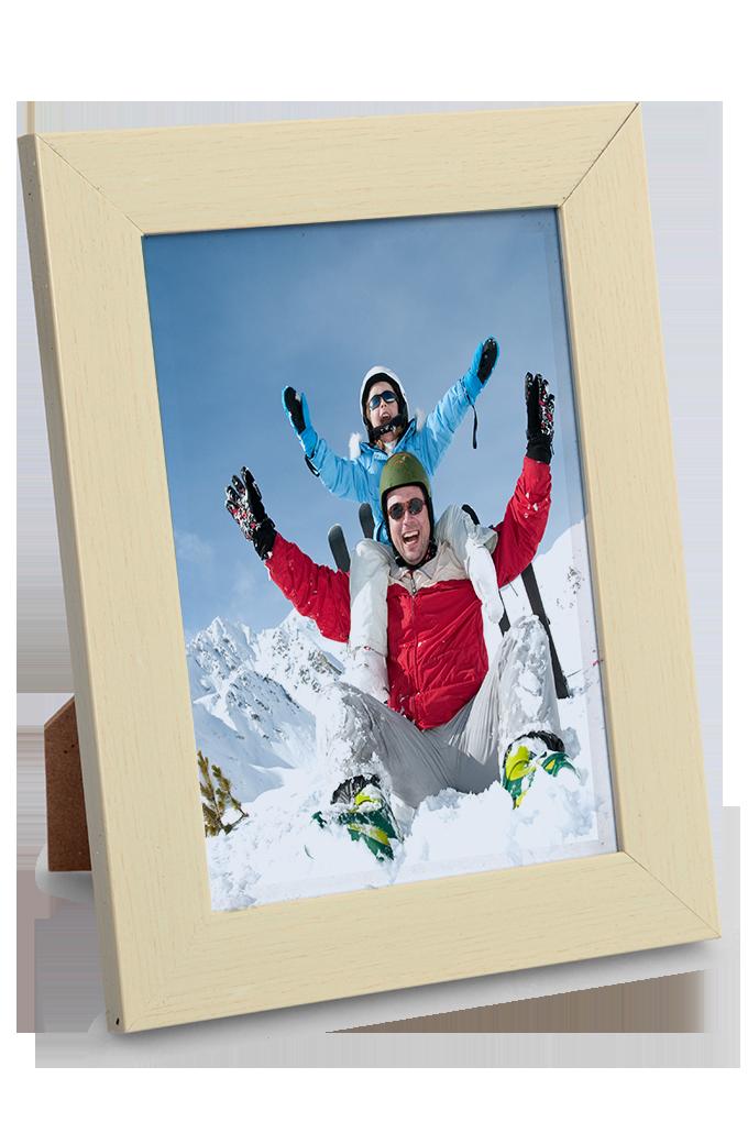 Dřevěný fotorámeček krémový na foto 13 x 18 cm