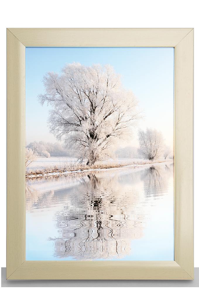 Dřevěný fotorámeček, krémový