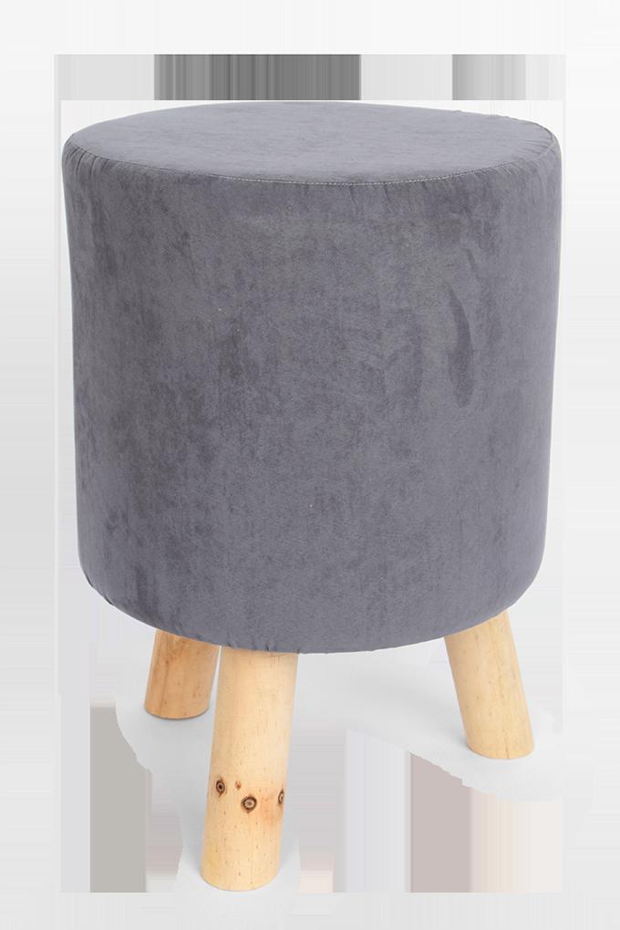Taburet šedý, polstrovaný kulatý