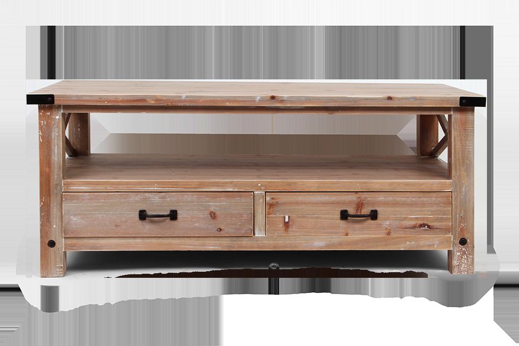 Konferenční stolek, dřevěný, 2 zásuvky