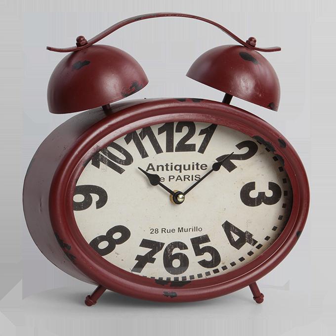 Velké kovové hodiny v designu retro budíku