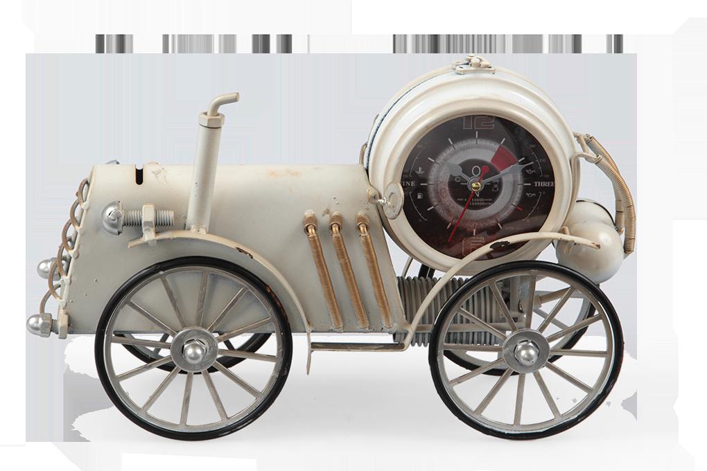 Kovové hodiny, retro auto