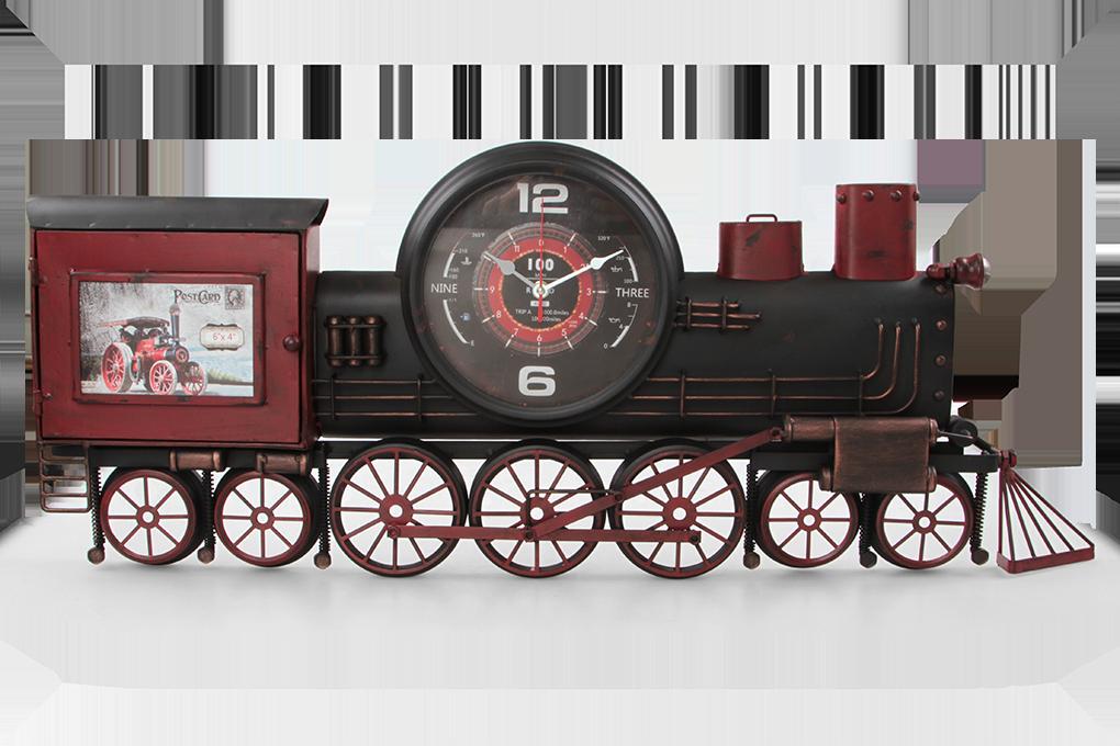 Kovové hodiny, retro parní lokomotiva