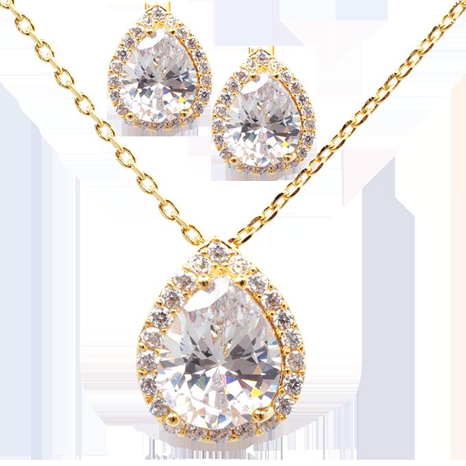 Set náhrdelník a náušnice se zirkony pozlaceno