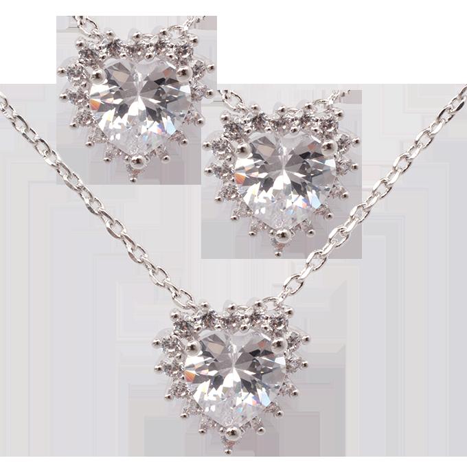 Set náhrdelník a náušnice se zirkony rhodiováno