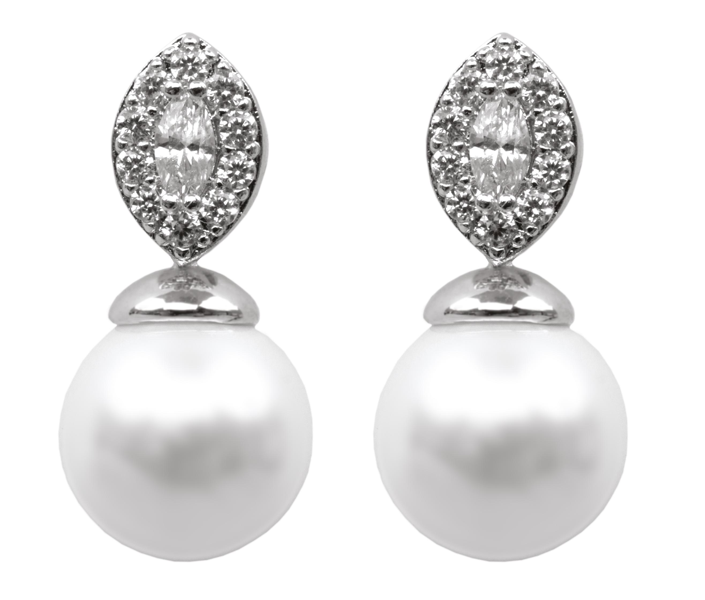 Náušnice se zirkony a perlou rhodiováno