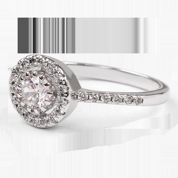Prsten se zirkony, rhodiováno