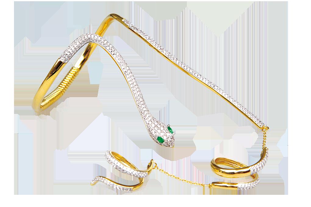 Pozlacený náramek se dvěma prstýnky bohatě zdobený zirkony