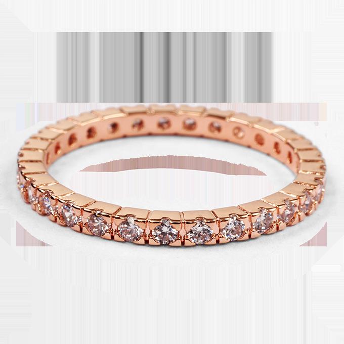 Prsten se zirkony, rhodiováno rosé   vel.8