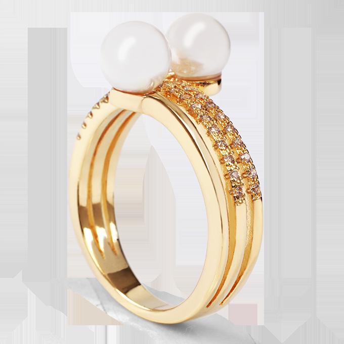 Prsten se zirkony, a perlami, pozlaceno   vel.8