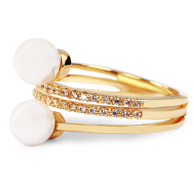 FC9239-Prsteň so zirkónmi a perlami, pozlátené
