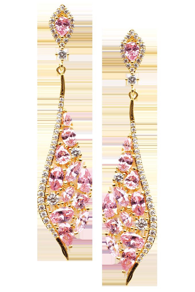 Náušnice se zirkony s růžovými broušenými kameny, pozlaceno