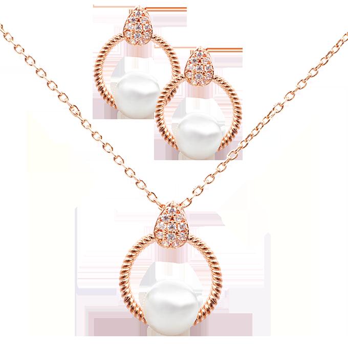 Set náhrdelník a náušnice se zirkony a perlami rhodiováno rosé