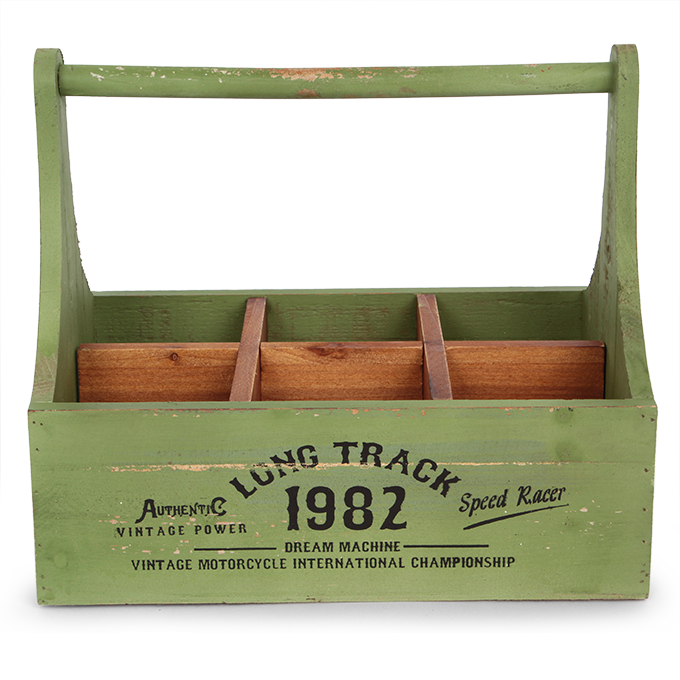 Dřevěná bedýnka, LONG TRACK olivová