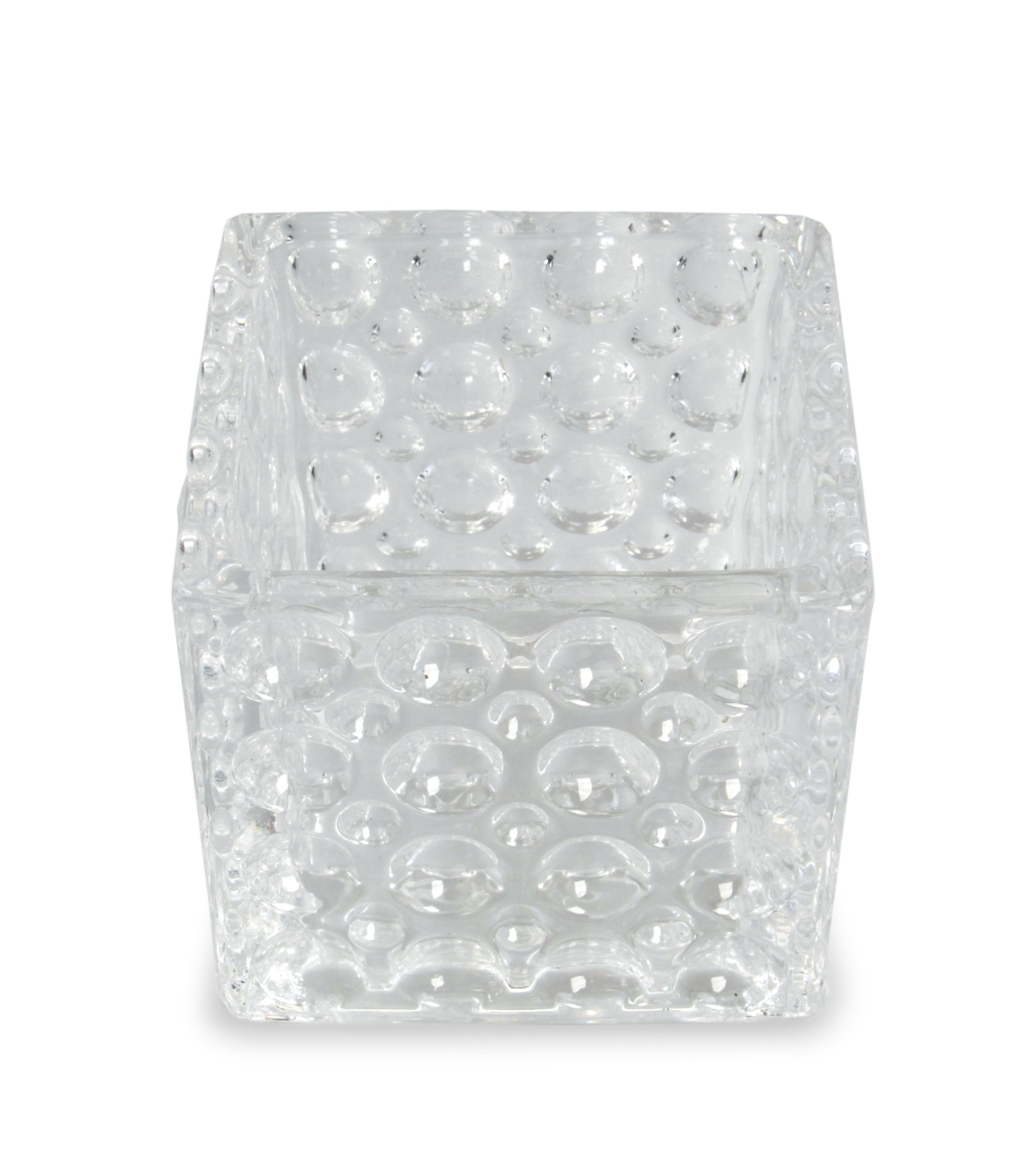 Skleněný svícen s reliéfním povrchem š 8,5 x h 8,5 x v 8 cm