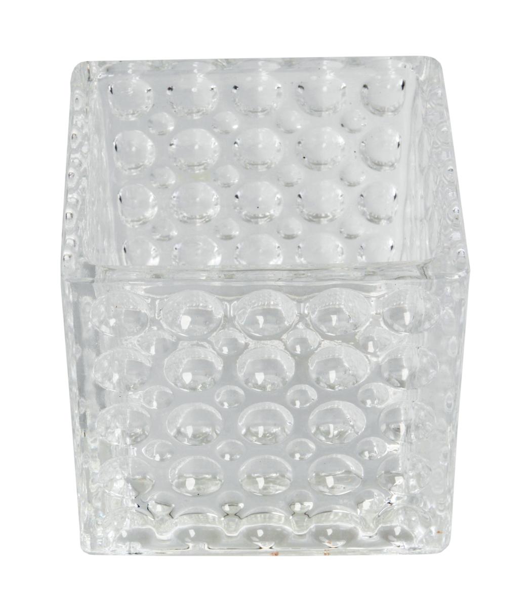 Skleněný svícen s reliéfním povrchem š 10,5 x h 10,5 x v 10 cm