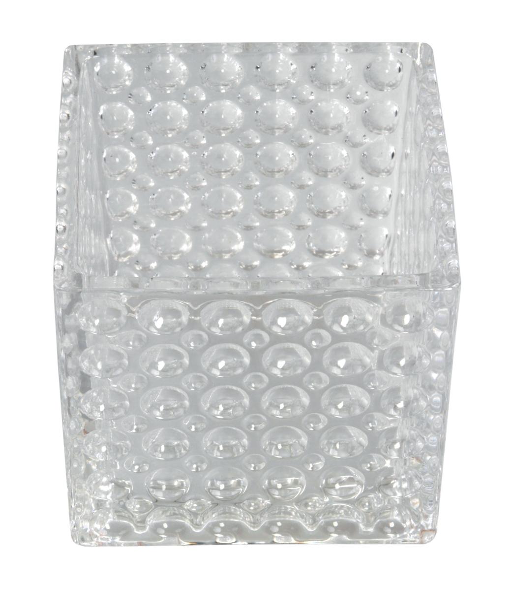 Skleněný svícen s reliéfním povrchem š 12,5 x h 12,5 x v 12 cm
