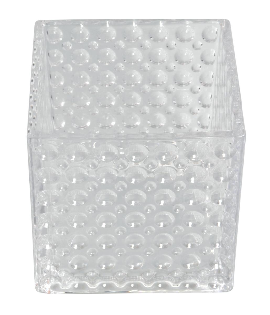 Skleněný svícen  s reliéfním povrchem š 15 x h 15 x v 14,5 cm