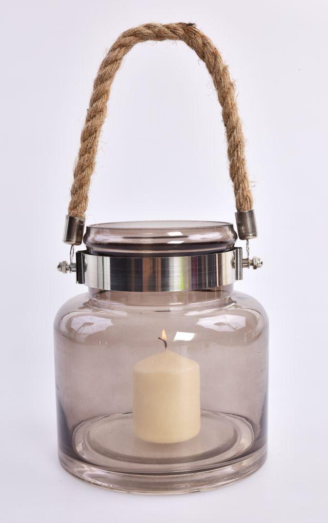 XL Skleněný svícen, s lanovým uchem
