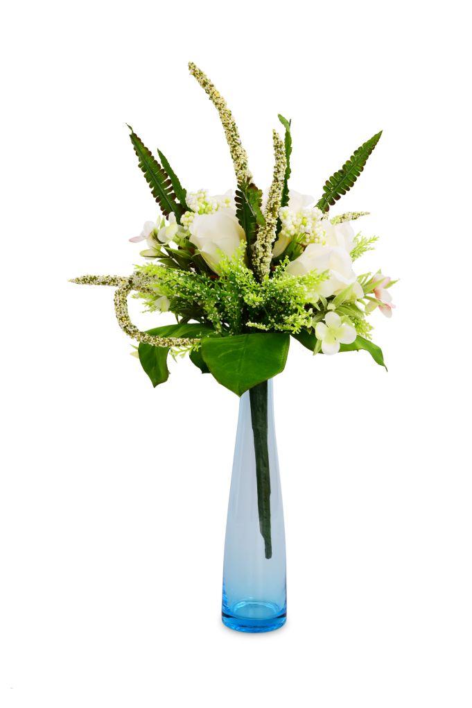 Skleněná úzká váza, modrá