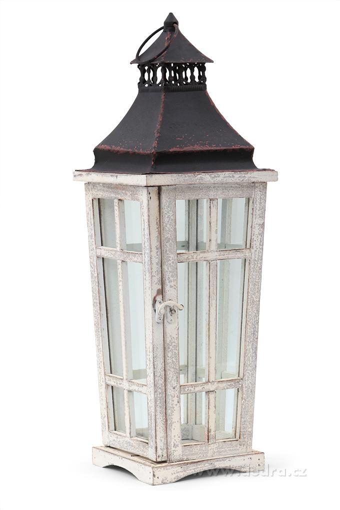 Lucerna dřevo a kovse skleněn.výplněmivýška 54 cm