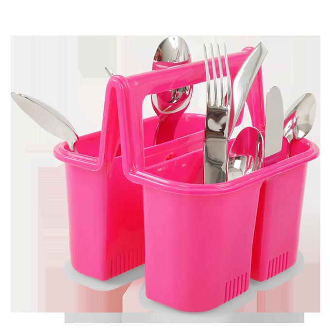PŘÍBORNOŠ odkapávač i držák na příbory, růžový