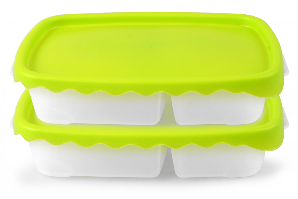 DUOBOX dóza na potraviny 2 ks 500 + 300 ml - zelená