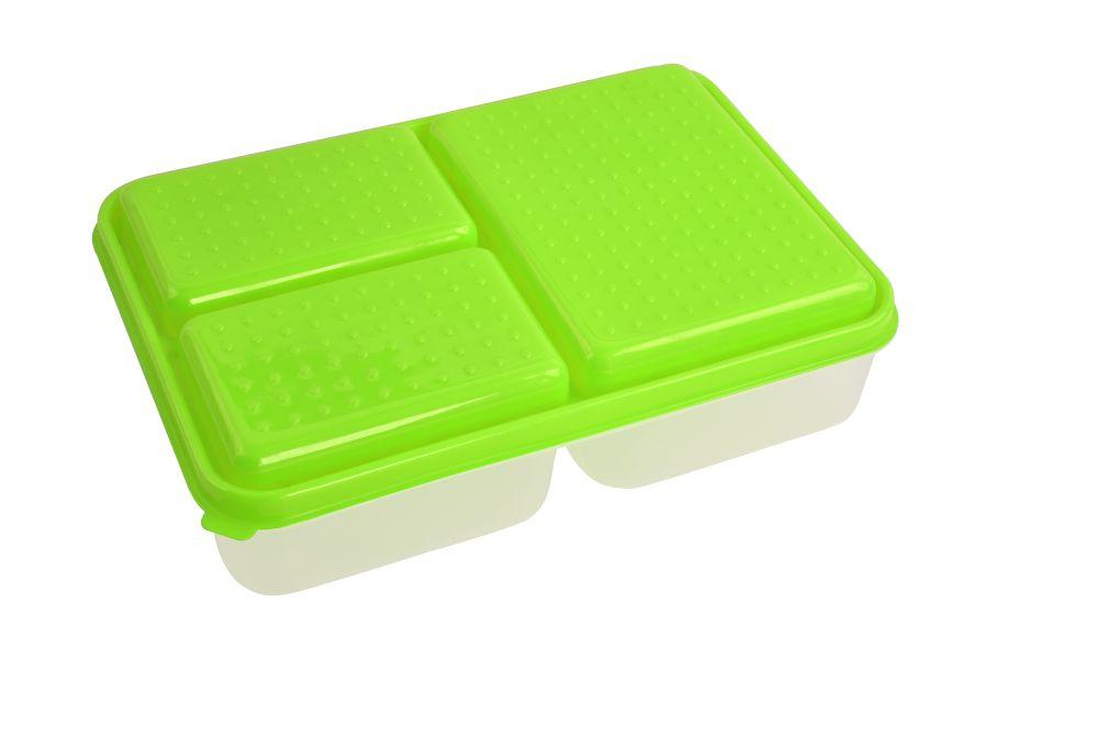 TRIOBOX 3 in 1  300 + 300 + 700 ml dóza na potraviny, zelený