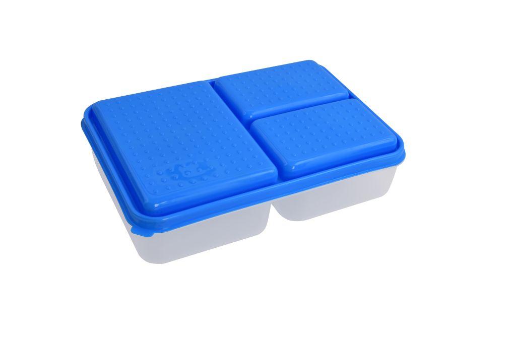 TRIOBOX 3 in 1  300 + 300 + 700 ml dóza na potraviny, modrý
