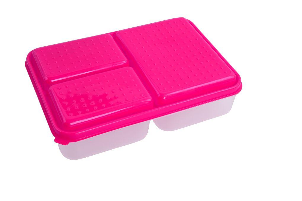 TRIOBOX 3 in 1  300 + 300 + 700 ml dóza na potraviny, růžový