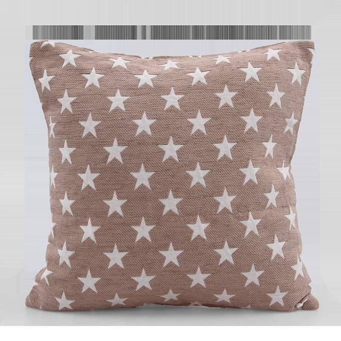 FC94091-Poťah na vankúš s motívom hviezd prírodný, 45 x 45 cm