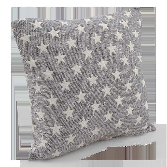Potah na polštář s motivem hvězd šedý, 45 x 45 cm