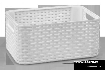 Úložný koš ratan, bílý menší