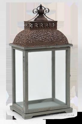 DA84821-Lucerna drevo a kov sa skleněn.výplněmi výška 66 cm