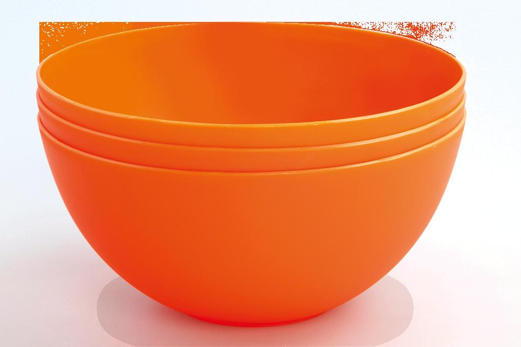 3 ks MISKA 900 ml z odolného plastu oranžové