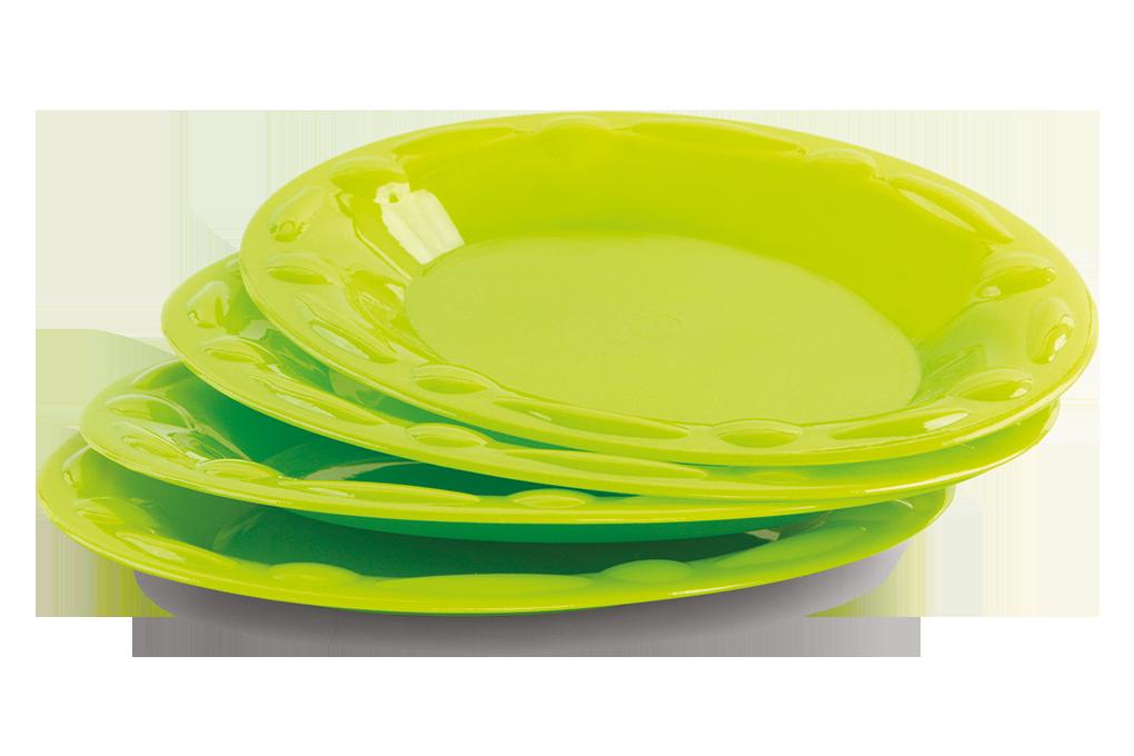 4 szt. Talerze owalne mniejsze, z mocnego plastiku zielone