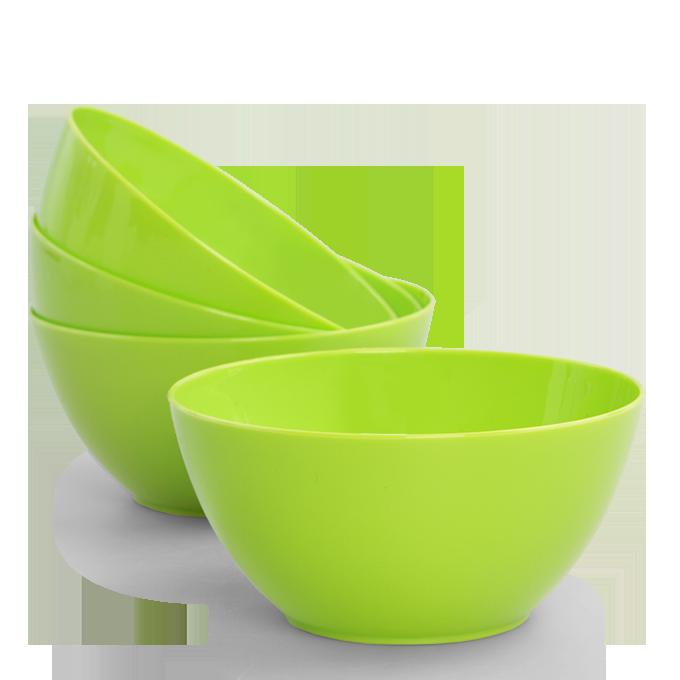 4 ks MISKA 380 ml z odolného plastu zelené