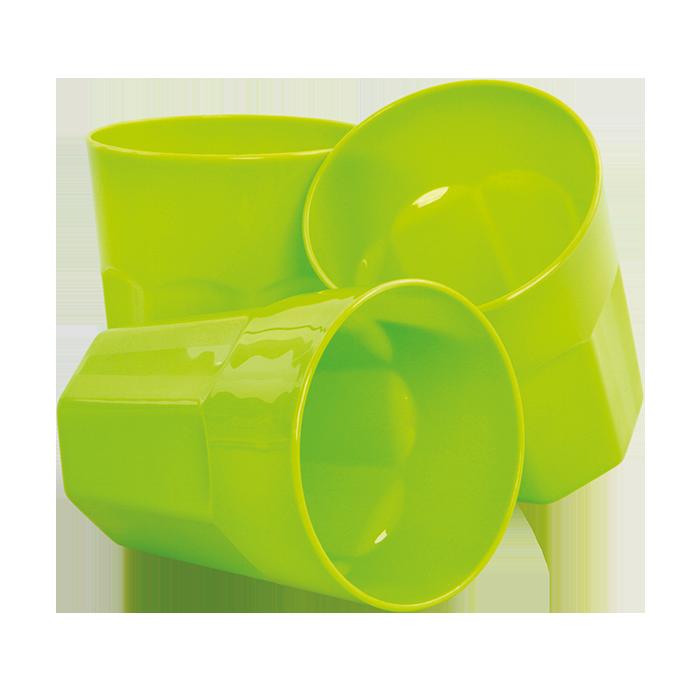 3 szt. Kubki 350 ml, z mocnego tworzywa sztucznego zielone