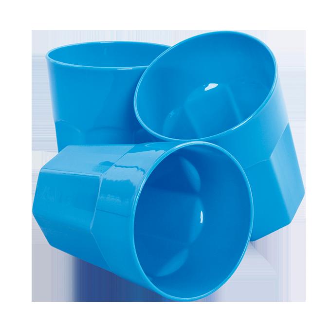 3 ks KELÍMEK 350 ml z odolného plastu modrý
