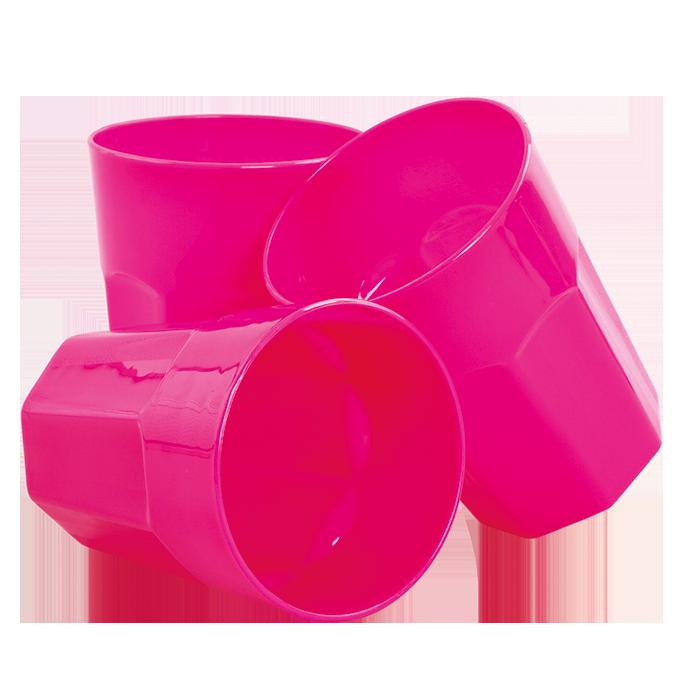 3 ks KELÍMEK 350 ml z odolného plastu růžový
